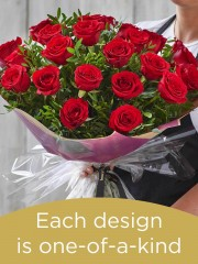 24 red rose hand-tied made with deluxe roses