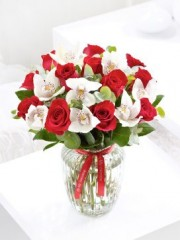 Valentine's Rose and Orchid Candy Jar with Red Wine
