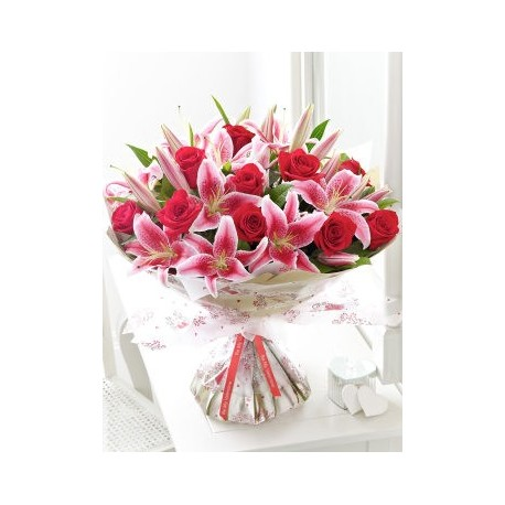 Extra Large Rose and Lily Hand-tied with Sparkling Rosé