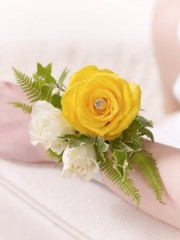 Yellow Rose and Fern Wrist Corsage