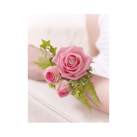 Pink Rose and Fern Wrist Corsage
